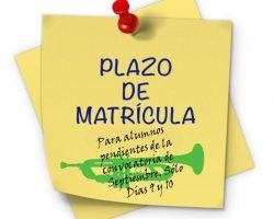 Plazo de Matricula para alumnos pendientes de la convocatoria de septiembre