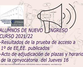 Alumnos de Nuevo Ingreso: Resultados de la prueba y Acto de adjudicación de plazas